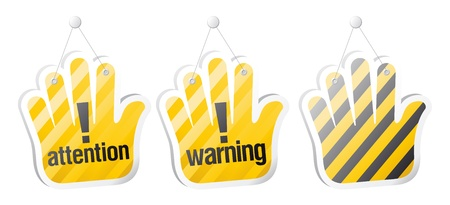 Set of warning signs in form of palm Stock Vector - 15353136