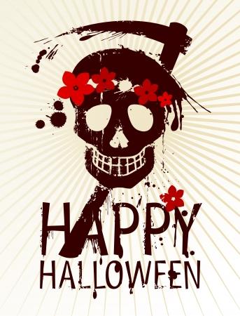 Happy Halloween Design template with female skull. Stock Vector - 15353106