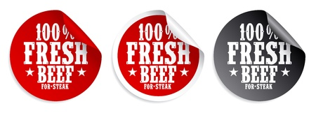 Fresh beef meat for steak stickers set Vector
