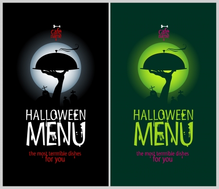 dl: Halloween Menu Cards Design template set.