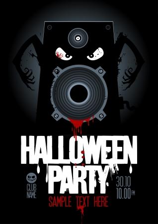 fiesta dj: Fiesta de Halloween plantilla de dise�o, con el altavoz malvado y sangriento lugar para el texto.