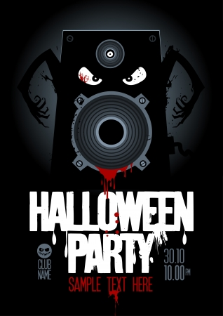 Halloween Party Design template, with wicked bloody speaker and place for text. Vector