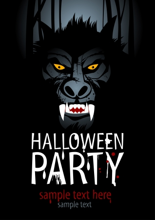 trick: Halloween Party Design template with werewolf. Illustration