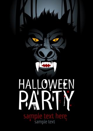 loup garou: Modèle de conception Halloween Party avec loup-garou.