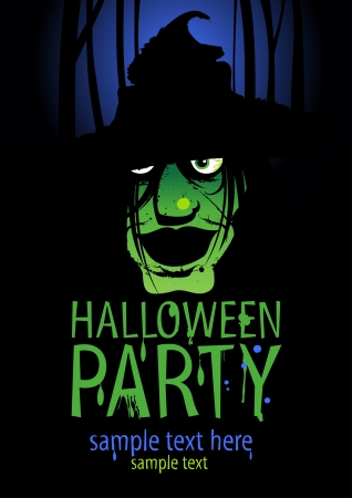 trick: Halloween Party Design template with witch and place for text. Illustration