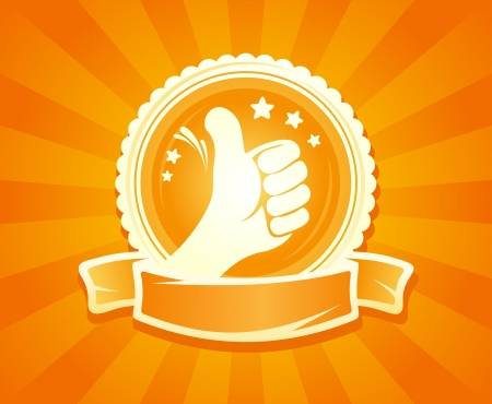 bestseller: Hand thumbs up emlbem for best of the best  With place for text