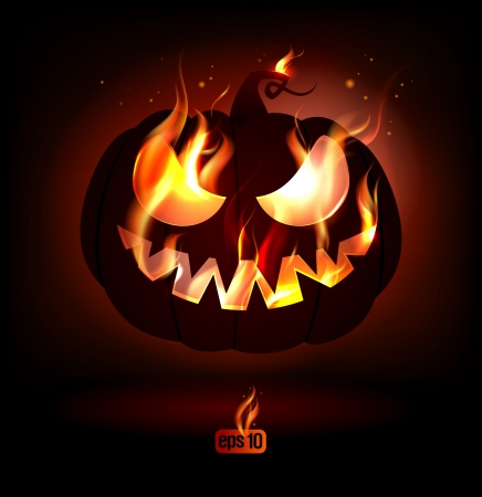 Fiery halloween pumpkin  Eps10 Vector  Vector