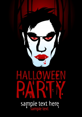 Halloween Party Design template with vampire  Illustration