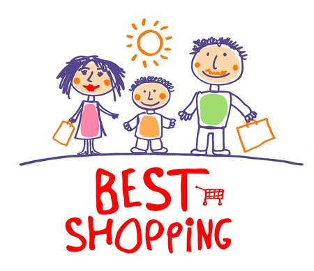 kid shopping: Best sale hand drawn illustration with happy family. Illustration
