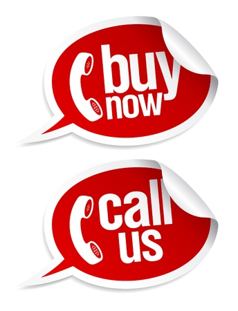 Buy now, call us stickers in form of speech bubbles. Vector