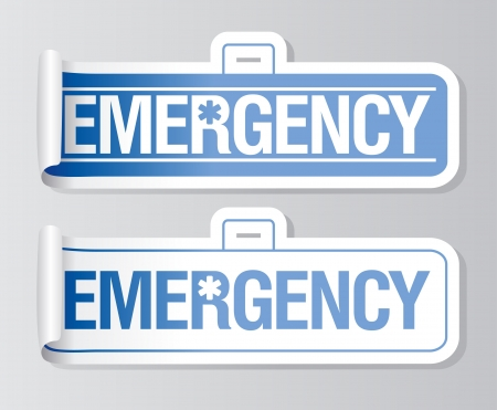 first aid kit: Emergency stickers set.