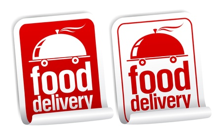 negocios comida: Pegatinas de entrega de alimentos establecido.