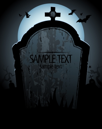 eerie: Halloween background with tomb and place for text. Illustration