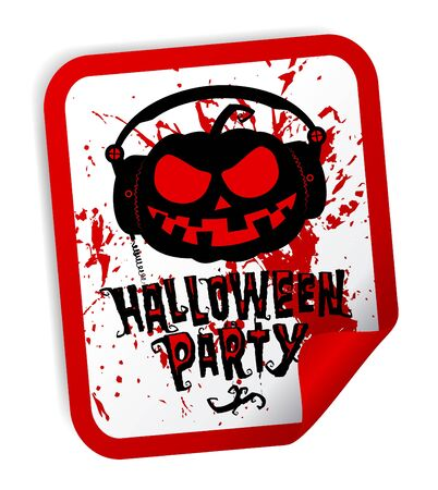 party wear: Halloween party sticker with bloody pumpkin wear headphones Illustration