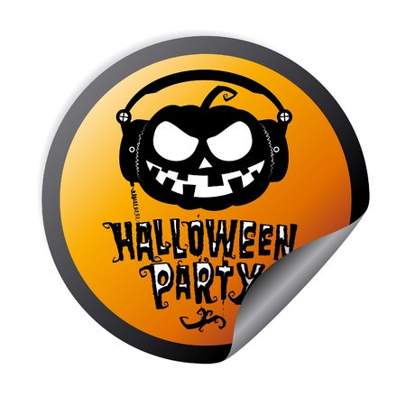 party wear: Halloween party sticker with pumpkin wear headphones Illustration
