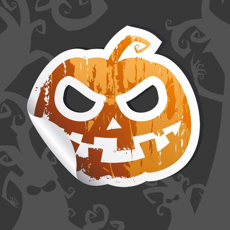 Halloween sticker against the twilight background . Vector