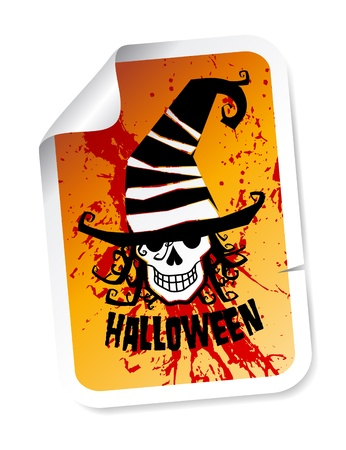 grinning: Halloween sticker with scary grinning skull in hat on bloody background