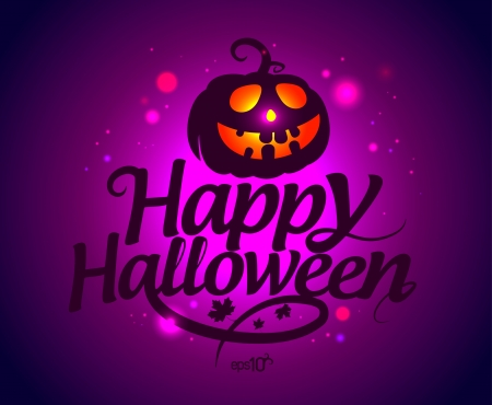 Happy Halloween card with pumpkin. Vector