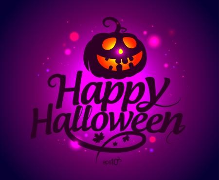 Happy Halloween card with pumpkin. Stock Vector - 15544182
