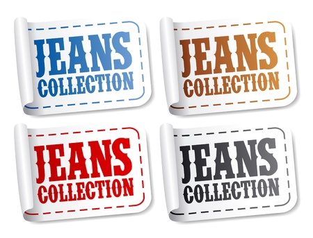 Jeans collection stickers set Vector