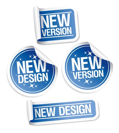 New Design and Version stickers set. Vector