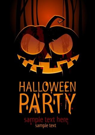 boom halloween: Halloween Party Design template, met pompoen en plaats voor tekst. Stock Illustratie