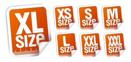 size clothing stickers set Stock Vector - 15544177