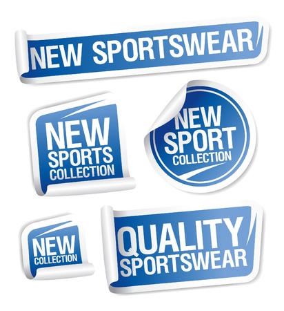 New sportswear collection stickers set. Ilustração