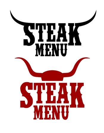 Steak Menu signs set.