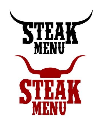 steak beef: Steak Menu signs set.