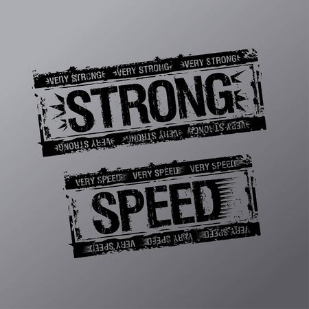 Strong and speed rubber stamps. Vector