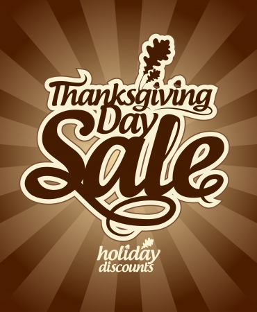 clearance sale: Thanksgiving Day sale design template. Illustration