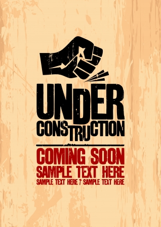 closed fist sign: Under construction design template.