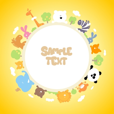 Round children frame with place for photo or text. Vector