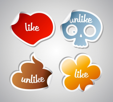 Like and unlike funny stikers set. Vector