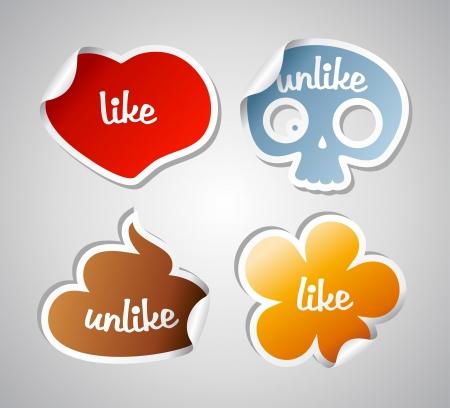 poo: Like and unlike funny stikers set.