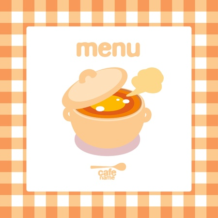 soup pot: Home Cooking Menu Card Design template.  Illustration