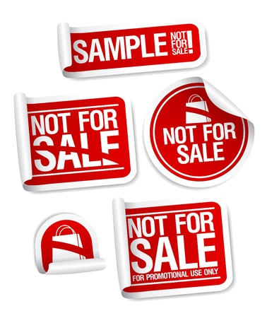 trial: Sample not for sale stickers for free products. Illustration
