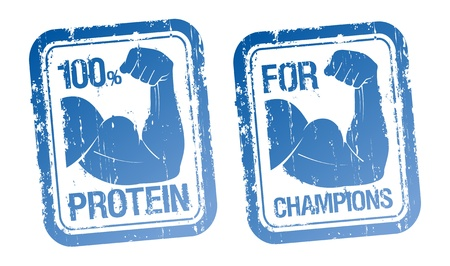 100 % Protein, For Champions stamps set. Stock Vector - 15713838