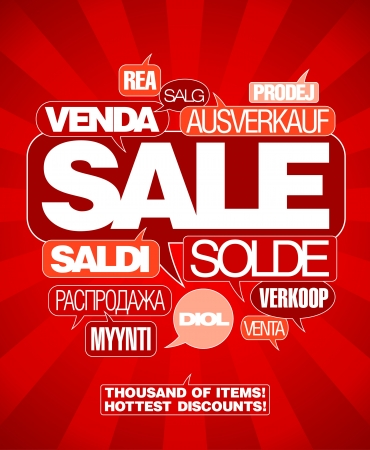 Sale design template written in many languages. Stock Vector - 15713831