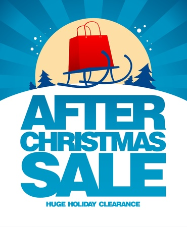 clearance sale: After christmas sale design template with shopping bag on a sled. Illustration