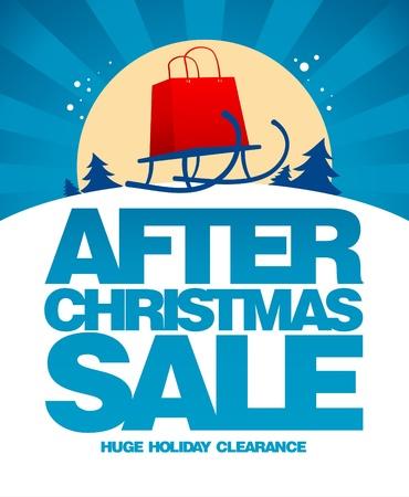 Na kerst verkoop ontwerp sjabloon met het winkelen zak op een slee.