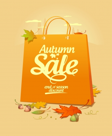 wholesale: Autumn sale design template with shopping bag. Illustration