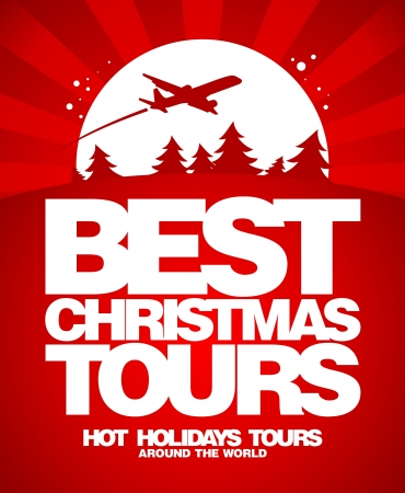 luxury travel: Best Christmas tours design template.