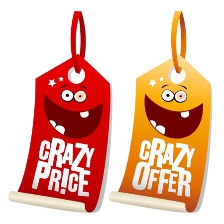 etiquetas de ropa: Etiquetas de Crazy venta divertidas. Vectores