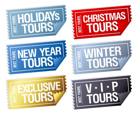 Holidays tours stickers in form of tickets. Vector