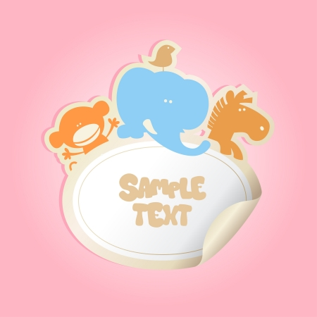 Babys Sticker with place for text. Vector