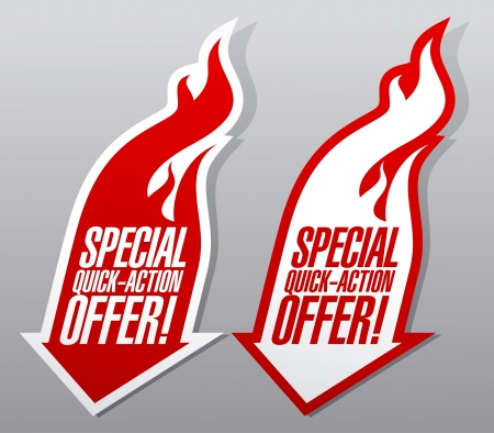 discount buttons: Special quick action offer fiery symbols. Illustration