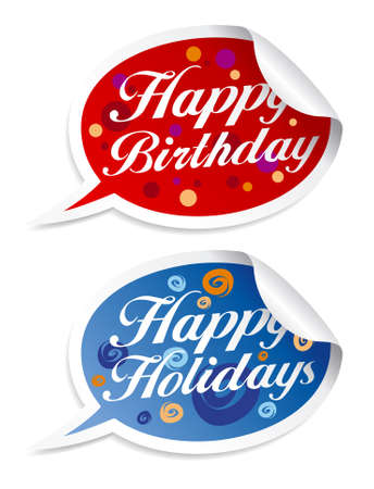Happy birthday and holidays stickers in form of speech bubbles. Stock Vector - 16101950