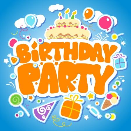 happy birthday party: La fiesta de cumplea�os plantilla de dise�o para los ni�os.